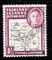 Falkland Islands Dependencies 1946 Used Scott #1L8 1sh Map Variety Gap In 80th Parallel - Falkland