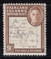 Falkland Islands Dependencies 1948 MH Scott #1L7 9p Map - Falkland