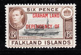 Falkland Islands Dependencies 1944 MNH Scott #2L6 6p R.R.S. Discovery II Graham Land O/p - Falkland