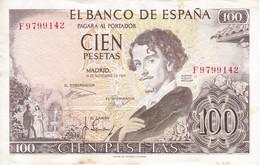 BILLETE DE 100 PTAS DEL AÑO 1965  SERIE F -  BECQUER  CALIDAD MBC (VF) (BANKNOTE) - [ 3] 1936-1975 : Regency Of Franco