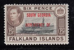 Falkland Islands Dependencies 1944 MH Scott #3L6 6p R.R.S. Discovery II South Georgia O/p Variety - Falkland