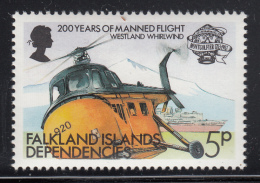 Falkland Islands Dependencies 1983 MNH Scott #1L80 5p Westland Whirlwind Helicopter - Falkland