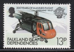 Falkland Islands Dependencies 1983 MNH Scott #1L81 13p Westland Wasp Helicopter - Falkland