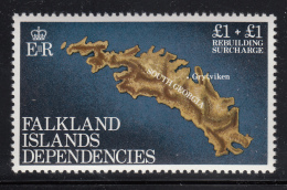 Falkland Islands Dependencies 1982 MNH Scott #1LB1 Map Of Battle Sites - Rebuilding - Falkland