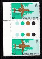 Falkland Islands 1979 MNH Scott #289 15p Fokker F28 Variety SG #362w - Falkland
