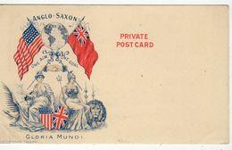 "ANGLO-SAXON ""GLORIA MUNDI"", Pioneer Era Patriotic Wilson Canada Postcard, Flags Of USA & England, Non- PC Back - Canada"