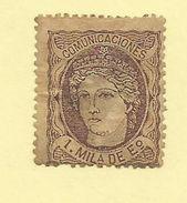 Spain - 1870 1m Brown Lilac - Sc#159 - HM - S.156 - 1868-70 Governo Provvisorio