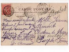 Oblitération 5e CORPS - QUARTIER GENERAL - 1905 - BAR-SUR-AUBE - Les Anciennes Tanneries - Marcofilie (Brieven)