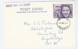 1973 GB 3 1/2p ROYALY WEDDING FDC Kingsbridge Philatelic Society Membership Meeting Card Cover Stamp South Devon - FDC
