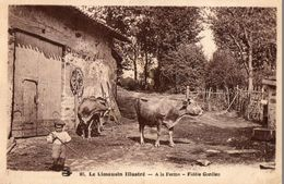 CPA Le Limousin Illustré. à La Ferme, Fidéle Gardien, Vaches, Jeune Garçon. - Limousin