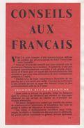 MILITARIA - 1939 1945 - TRACT CONSEILS AUX FRANCAIS HAUT COMMANDEMENT INTERALLIE A LONDRES - VOIR SCANNERS RECTO VERSO - 1939-45