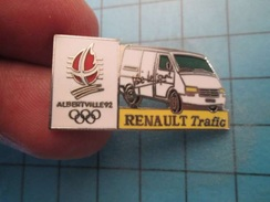 Pin710c Pin's Pins :  RENAULT TRAFIC VIVE LE SPORT JEUX OLYMPIQUES ALBERTVILLE 1992  , Marquage Au Dos : ------- - Renault