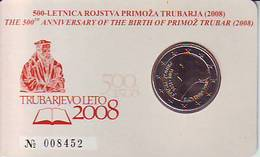 BU Kms Coin Card 2 Euro 2008 500 Ans De Primoz Trubar Slovenie Slowenien Slovenië Slovenia Slovenije N° 008452 - Slovenia