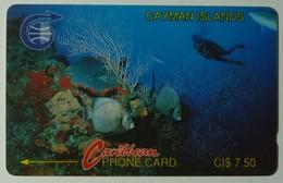 CAYMAN ISLANDS - GPT - CAY-3A - Underwater - Diver - 3CCIA - $7.50 - RARE BLACK REVERSE - Used - Cayman Islands