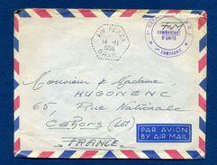 Enveloppe Cachet Ain Fezza Oran , Bt 7 R I , 1ere Cie à Hugonenc Cahors Courrier à L'intérieur Classeur 1er Jour 4 - Marcophilie (Lettres)