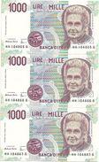 Italie Lot De 3 Billets N° Qui Se Suivent  HH104865G  HH104866G  HH104867G   UNC - [ 2] 1946-… : Républic