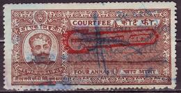 India-Mewar Udaipur State 4 Annas Court Fee/Revenue Type 25 KM 252 Over Printed Sanyukat Rajasthan Sarkar In Blue #DF424 - India