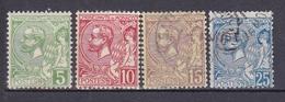 MONACO 1901 PRINCE ALBERT 1ER  LOT DE 4 TIMBRES DU N°22 AU 25 * ET OBL. - Monaco