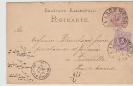 EL117 / Elsass, Saargemünd 1878, Spätverwendung Auf Pfennige, Ganzsache + Marke, 2 Schöne Hufeisenabschläge - Brieven En Documenten