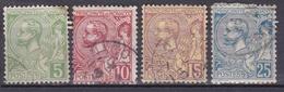 MONACO 1901 PRINCE ALBERT 1ER  LOT DE 4 TIMBRES DU N°22 AU 25  OBL. - Monaco