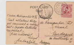 Egy216 / UPU Kongress, Kairo 1934. Bedarfskarte Mit Sonderentwertung In ROT UND SCHWARZ (AK Rohda Island) - Ägypten