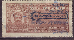India-Mewar Udaipur State 2 Annas Court Fee/Revenue Type 28 KM 283 Over Printed Sanyukat Rajasthan Sarkar In Blue #DF430 - India