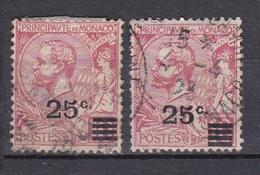 MONACO 1922 PRINCE ALBERT 1ER  LOT DE 2 TIMBRES DU N°52  OBL. - Monaco