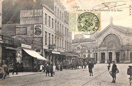 Liège - Entrée De La Rue Des Guillemins Et La Gare (animée, Tram, Tramway, Commerces, Métiers, 1905) - Lüttich