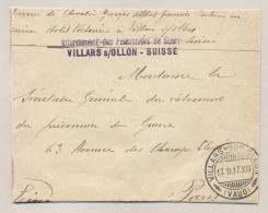 Schweiz - 1917 - POW-cover From Villars S/Ollon Sent To Paris / France - Documenten
