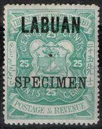 Labuan - 1896 - Y&T N° 62, Neuf Avec Trace De Charnière, Surchargé Specimen - Timbres