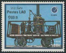 "Laos 1988 Mi 1096 YT 858 ** ""Tom Thumb"" (1829) Locomotive – Int. Stamp Fair, """" Essen '88"" - Laos"