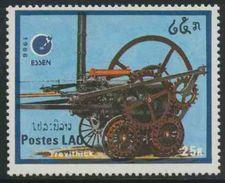 "Laos 1988 Mi 1094 YT 856 ** Trevithick's Locomotive (1803) Locomotive – Int. Stamp Fair, """" Essen '88"" - Laos"