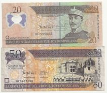 Dominicaine Lot De 2 Billets 20 + 50 Pesos - Dominicana