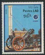 "Laos 1988 Mi 1092 YT 854 ** ""Rocket"" (1829) Locomotive – Int. Stamp Fair, """" Essen '88"" - Laos"