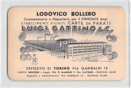 """07220 """"LODOVICO BOLLERO TORINO - CONCES. PER IL PIEMONTE CARTE DA PARATI LUGI GATTINO & C."""" CARTON. PUBBLIC. ORIG. - Pubblicitari"""