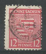 """Sowjetische Zone 71XA """" 12 Pfg.-Briefmarke Aus Satz Wappendarstellung Prov.Sachsen,Zähng.Wittenbg."""" Gestempelt Mi.:100,- - Zone Soviétique"""