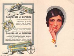 """07222 """"BAYER - COMPRESSE DI ASPIRINA - COMPRESSE DI ELMITOLO"""" CALENDARIETTO. PUBBLIC. ORIG. 1929 - Formato Piccolo : 1921-40"""