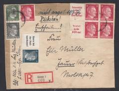 DR Einschreiben Päckchenausschnitt MiF W151 W156 W157 Ab Essen K41 - Germany