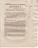 CONVENTION NATIONALE - DECRET - 24 JUILLET 1793 - QUI SUSPEND LE TRANSIT DE L'ETRANGER A L'ETRANGER DU HAUT ET BAS RHIN - Décrets & Lois