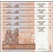 TWN - MADAGASCAR 88b - 500 Francs 2008 DEALERS LOT X 5 - Hybrid Substrate - A XXXXXXX T UNC - Madagascar