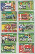 CHINA 2002 FOOTBALL WORLD CUP FULL SET OF 32 USED PHONE CARDS - Sport