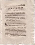 CONVENTION NATIONALE - DECRET - 22 JUILLET 1793 - RELATIF AUX PENSIONS DE RETRAITE .......... - Decrees & Laws