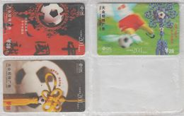 CHINA 2002 FOOTBALL FULL SET OF 3 USED PHONE CARDS - Sport
