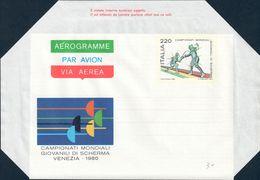 AEROGRAMMA CAMPIONATI MONDIALI GIOVANILI SCHERMA A VENEZIA L. 220 - 1980 CATALOGO FILAGRANO A12 NUOVO ** - 6. 1946-.. Republic