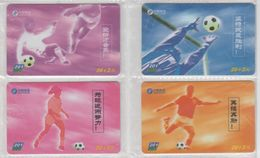 CHINA 2002 FOOTBALL FULL SET OF 4 USED PHONE CARDS - Sport