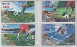 CHINA 2004 FOOTBALL FULL SET OF 4 USED PHONE CARDS - Sport