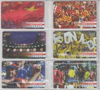 CHINA 2002 FOOTBALL FUNS FULL SET OF 6 USED PHONE CARDS - Sport