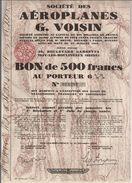 Gabriel Voisin - Bon De 500 Francs Au Porteur - Actions & Titres