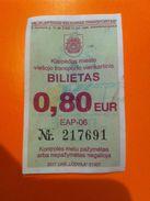 Lithuania Litauen Bus Ticket City Klaipeda Memel 2017 - Bus