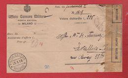 Face Avant - Valeur Déclarée  -  De Milan Pour Levallois Perret  - 25/1/1918 --  Censure Militaire - Posta Militare (PM)